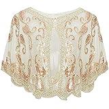 ArtiDeco - Chal de los años 20 para vestidos de noche, estola para bodas, mantón para fiestas o disfraces beige Talla única