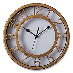 Gold Silent Wall Clock Non-ticking Wall Clock 8 Round Ready to Hang Decor Wall Clock With Plastic Bezel
