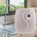 3000W 110V 25-32A 給湯器 電気給湯器 電気タンクレス給湯器 温水ヒーター 温度表示 調整可能 お風呂 浴室 キッチン(ゴールデン)