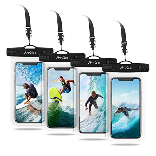 "ProCase Universal Cellphone Waterproof Pouch Dry Bag Underwater Case for iPhone 12 Pro Max 11 Pro Max Xs Max XR X 8 7 6S, Galaxy S20 Ultra S10 S9 S8/Note10 9 up to 6.9"" -4 Pack,Clear"