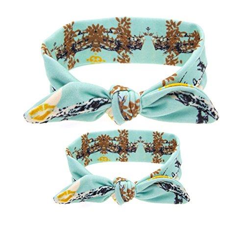 CuteOn 2 Set Maman et bébé Fille Des oreilles de lapin Bandeau Turban Nœud Cheveux Bande Accessoires Bleu