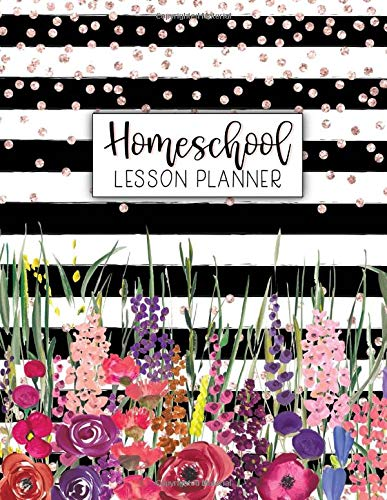 Homeschool Lesson Planner: Weekly & Monthly Record Book for Teaching Multiple Kids | July - June Academic Calendar Year Agenda | Watercolor Stripes