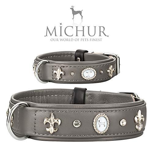 MICHUR Tipico Hundehalsband Leder, Lederhalsband Hund, Halsband, Grau, Leder, mit Lilien,Strasssteinen und großem Michur Stein, in verschiedenen Größen erhältlich