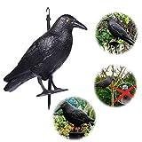 SpiritSun Schwarzer Rabe Kunststoff Krähe Attrappe Taubenschreck Rabe, fliegend oder sitzend Krähe Attrappe Vogelabwehr und Taubenschreck aus Kunststoff mit Stock und Füßen