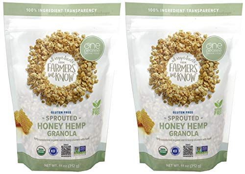 One Degree Sprouted Honey Hemp Granola – Gluten-free, Non-GMO, USDA Organic Granola – 11 Ounce (Pack of 2)