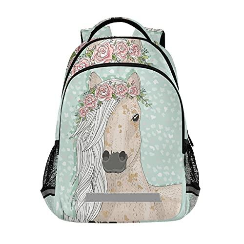 Mochila de cuento de hadas para estudiantes con diseño de caballo con flores, bolsa de viaje para niños y niñas