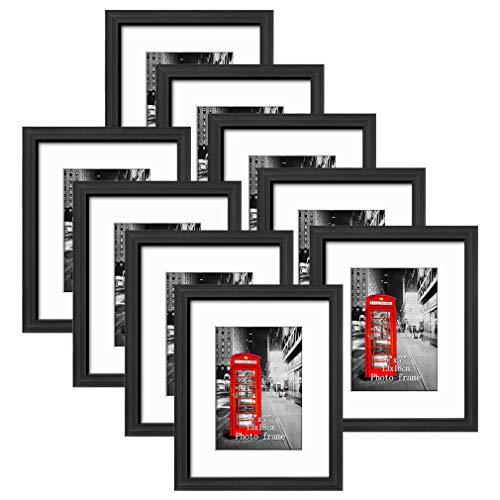Eono Amazon Brand Cornici per Foto da 20 x 25 cm, con Montatura per Foto da 12 x 18 o 20 x 25, da Parete o Tavolo, Nero, Confezione da 9
