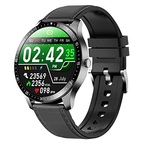 RNNTK Hombres Reloj Inteligente Bluetooth, Smartwatch Fitness Tracker Ip68 Es Resistente Al Agua Tomar Monitor De Frecuencia Cardíaca El Fitness Tracker Dama Reloj Deportivo-Piel Negra