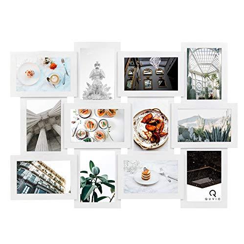 QUVIO Fotolijst collage voor 12 foto's/Collage-stijl fotolijst/Horizontaal of verticaal op te hangen/Fotogalerie / 48 x 58 cm/Fotocollage - Wit