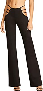 Women High Elasticity High Waist Cutout Solid Strappy Casual Bell-Bottomed Pants
