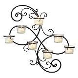 Stonebriar Decorative Black Scrolled Ivy Metal Tea Light Candle Holder Hanging Wall Sconce, 7-tealight