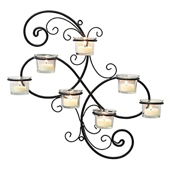 Stonebriar BR-CN-5387A Decorative Black Scrolled Ivy Metal Tea Light Candle Holder Hanging Wall Sconce 7-tealight
