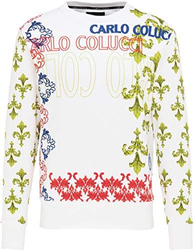 Carlo Colucci Herren Barock Sweatshirt, Weiß Weiß M