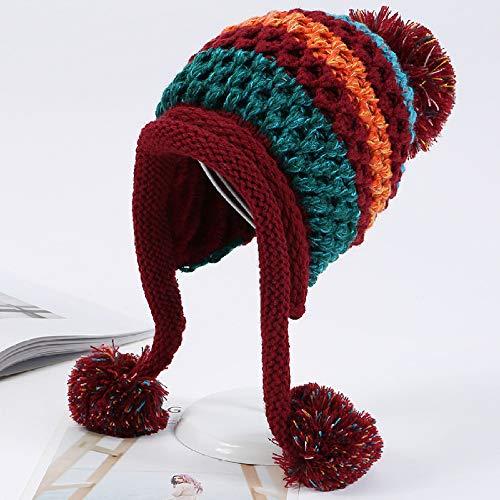 GYYCY Versión Coreana De La Combinación De Colores Más El Sombrero De Punto De Bola De...