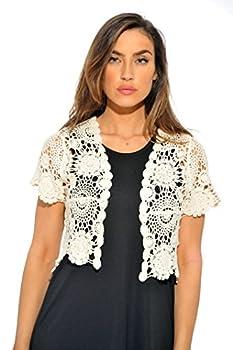 401147-Nat-L Just Love Bolero Shrug / Women Cardigan,Natural Floral Crochet,Large