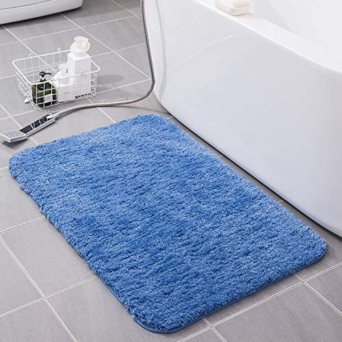 Tappeti Bagno, KELOFO Antiscivolo Microfibre Morbide Tappetino da Bagno Lavabile in Lavatrice, 40*60 cm Blu