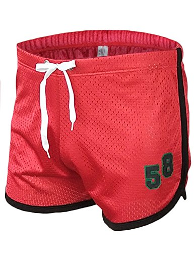Rexcyril Men's Running Workout Shorts Mesh Bodybuilding Gym Fitness Training Short Pants Medium Wine Red