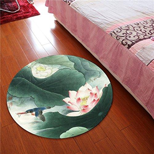Rug WAN SAN QIAN- 3D Round Carpet Chinese Office Carpet Basket Swivel Chair Carpet Mats Children Bedroom Lotus Carpet (Color : B, Size : 80x80cm)