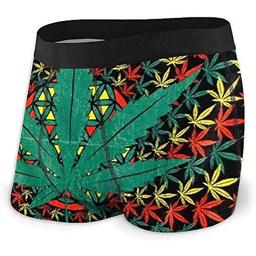 Boxershorts Shorts Spiral Marihuana Weed Cannabis Rasta Leaf Weiche, atmungsaktive und Bequeme Unterwäsche für Männer