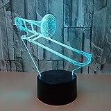 CHENCHAOK Trombón 3D luz de noche lámpara de noche LED decoración niño niña luz de noche iluminación dormitorio luz 3D luz de noche