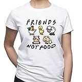 EUGINE DREAM Friends Not Food Vegan Vegetarian T-Shirt Femme Blanc L