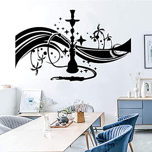 Tatuaje De Pared De Dibujos Animados Shisha Bar Árabe Decorativo Fumar Vinilo...
