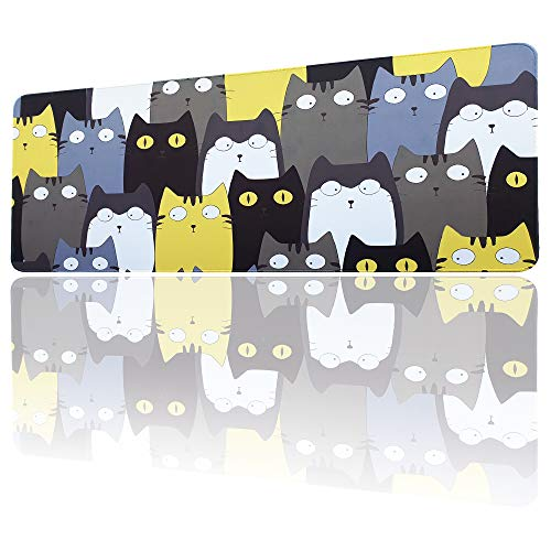 Cartoon Cat Mouse Pad, Large Mouse Pad XLL, Gaming Mouse Pads for Computers 35.43×15.75 Inch, Big Desk Mouse Mat Designed for Gaming Surface/Office, Durable Stitched Edges (Pattern A)