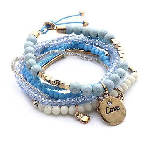 Toporchid Retro Bohemian Beads Women Bangle Bracelets Colorful Beaded Charm Multilayers Elasticity Bracelet Jewelry(blue)