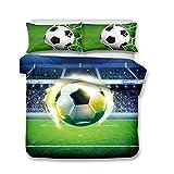 LanS Fútbol Deportes 3D Serie Ropa de Cama - Funda nórdica y Funda de Almohada, Ropa de Cama Tres Piezas (Funda nórdica + 2 Fundas de Almohada) Antibacteriano, hipoalergénico, Single,Double, King Bed