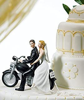 Willow Tree Promise Wedding Cake Topper, Romantic Motorcycle Posture Bride and Groom Wedding Cake Topper.