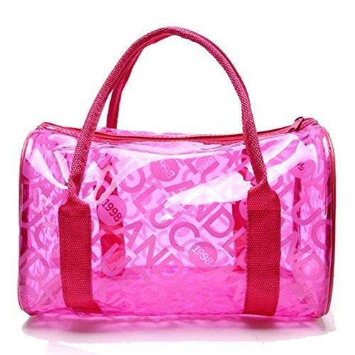 TININNA Moda Estate Trasparente PVC Beach Tote Bags Gelatina Sacchetto Borsa per Le Ragazze Donne Rose Rosso