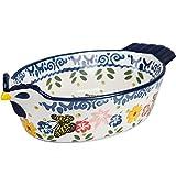 JIAGU Utensilios Doble asa de cerámica al Horno Cena Sopa de Queso Placa de cocción del Plato arroz cocido al Horno Plato de Pasta Creativa Inicio (Color : Blue, Size : 26.5x15x6.5cm)