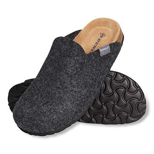Dunlop Zapatillas Mujer, Zapatillas Casa Mujer de Felpa, Pantuflas Mujer Suela de Goma Antideslizante, Regalos para Mujer y Adolescentes Talla 36-41 (Gris Oscuro, Numeric_37)