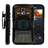 TurtleArmor   Compatible with Samsung Galaxy S5 Case   G900   I9600 [Hyper Shock] Combo Hybrid Impact Armor Holster Belt Clip Case Hard Shell Kickstand Alien and UFO - Spaceship Portal