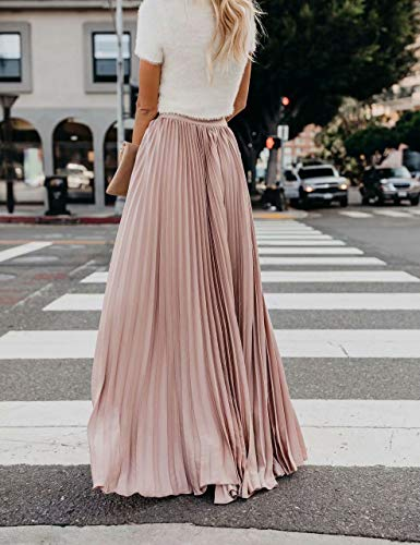 Frecoccialo Falda Plisada Mujer de Moda Larga Cintura Elástica Alta Eleganete Falda Maxi en Color Liso Falda Vintage (Rosa,XXL)