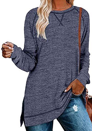 OMZIN Blusa de manga larga y cuello redondo para mujer, estilo túnica, elegante, asimétrico, con costuras decorativas, para otoño y primavera, tallas S-XXL A-navy Blau M