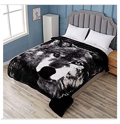 Hiyoko Wolf Manta de 3,5 kg de terciopelo suave de terciopelo de visón, cama de matrimonio de microfibra de terciopelo suave de felpa,...