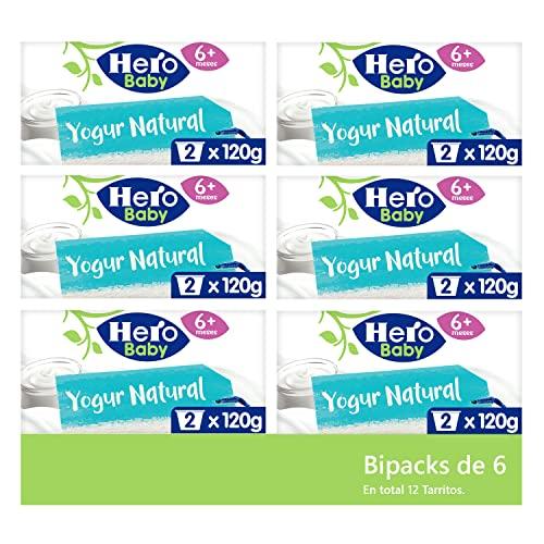Hero Baby Tarritos de yogur natural - 6 packs de 2 tarritos de 190gr
