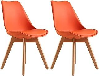 LSRRYD Pack de 2 Tulip Sillas de Comedor Sillas Cocina Nórdico con Asiento Tapizado y Las piernas de Madera de Haya Maciza (Color : Naranja)
