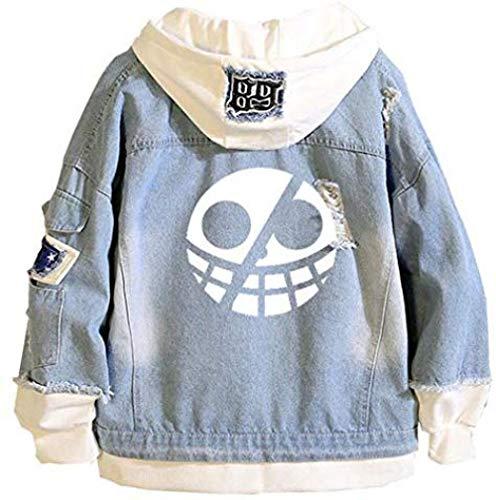Bkckzzz Anime Personalizado Edgy Art Luffy Zoro Chaqueta de Mezclilla con Capucha Unisex Cosplay Button Trucker Jeans Coat @ XXX-Large (Asian_Size) _Blue-25