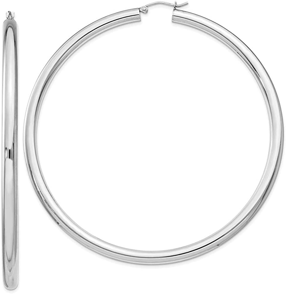 Black Bow depot Jewelry 4mm Sterling Silver Round Large Extra Hoop Max 70% OFF Ea