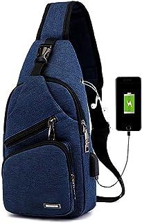 Men Women Sling Backpack Anti Theft Crossbody Shoulder Chest Bag with USB Charging Port Blue