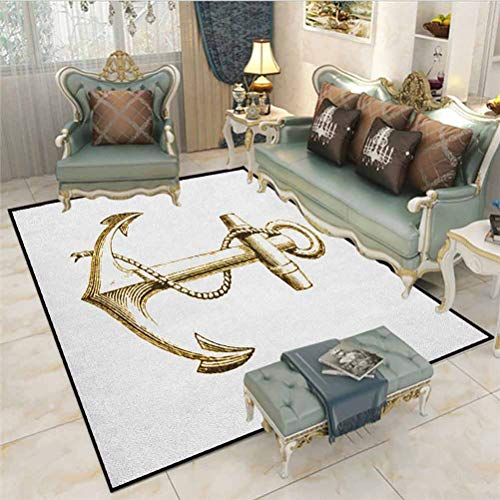 Nautical Outdoor Patio Rug Laundry Room Rug Gold Foil Anchor Image Be Safe and Grounded Voyage Journey Adventure Fisherman Carpet Sliders for Exercise Carpet for Rooms Gold White 6 x 7 Ft