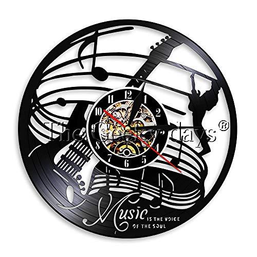 1-teilige Musik ist die Stimme der Seele Vinyl Wanduhr Gitarrenmusik Wanduhr Musikliebhaber Geschenk Musiker Rock'n'Roll Zeituhr-Keine