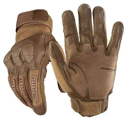 ZGHYBD Tactical Gloves-Indestructible, Warm, Waterproof, Full Finger Finger Hard Knuckle Gloves for Hunting, Shooting, Motorcycle, Cycling, Hiking, Lumbering Heavy Industry M Khaki