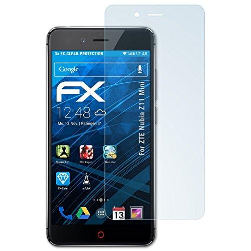 atFolix Schutzfolie kompatibel mit ZTE Nubia Z11 Mini Folie, ultraklare FX Bildschirmschutzfolie (3X)