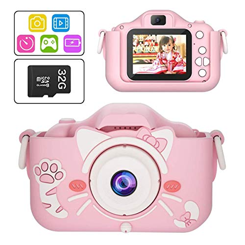Kids Digital Camera Toys, 1080P Dual Lens 20.0MP Toddler Video Camera for Children , Best Christmas Birthday Gifts for 3-14 Years Old Boys and Girl with 32G TF Card(Pink)