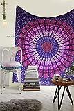 Raajsee - Tapiz de algodón indio, diseño de mandala, color morado
