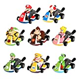 Max Fun Mario Kart Cars Super Mario Toys Pull Backs Cake Toppers Action Figure (Pack of 8)