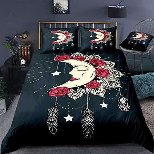 QXbecky Sun Moon Ocean Dreamcatcher Bohemian Soft Microfiber Reversible Bedding Quilt Cover Pillowcase 3-Piece Set